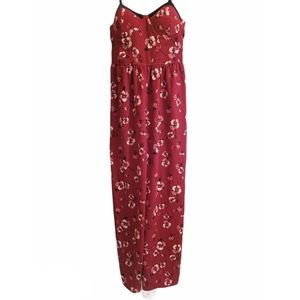Band Of Gypsies Red Floral Strappy Jumpsuit Medium